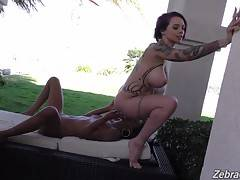 Anna Bell`s the aggressor for sure, but it doesn`t take mush for September to eat some pussy and ass.