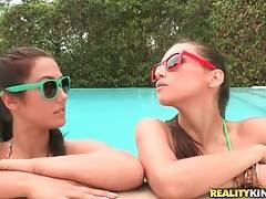 Celeste Star and Eva Loria are hanging out by the pool and get horny.